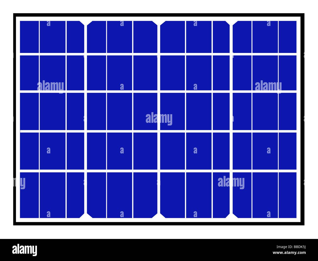 Ilustración de los paneles solares y celdas azules para la energía renovable. Imagen De Stock