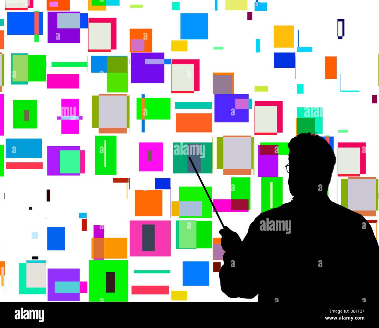 Maestro muestra un patrón similar generado por ordenador al estilo de Piet Mondrian Imagen De Stock