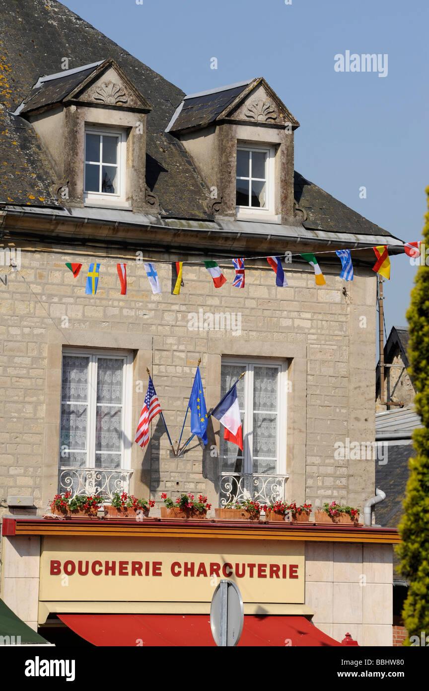 Dia D Banderas En La Carniceria De Sainte Mere Eglise Manche