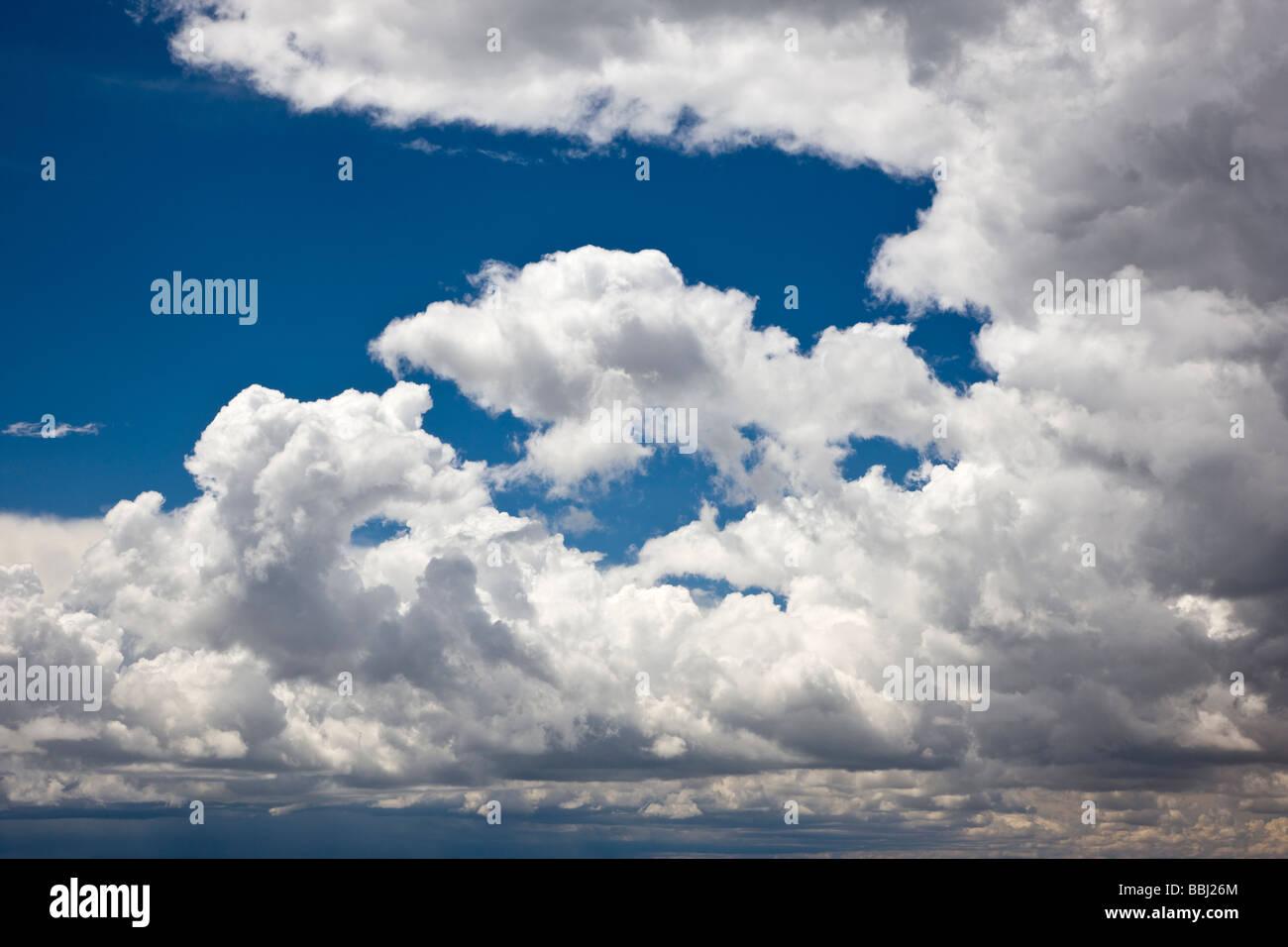 Hinchadas nubes cumulous blanca contra un cielo azul claro Cerro Cumbre Highway 50 East de Montrose, Colorado, EE.UU. Foto de stock