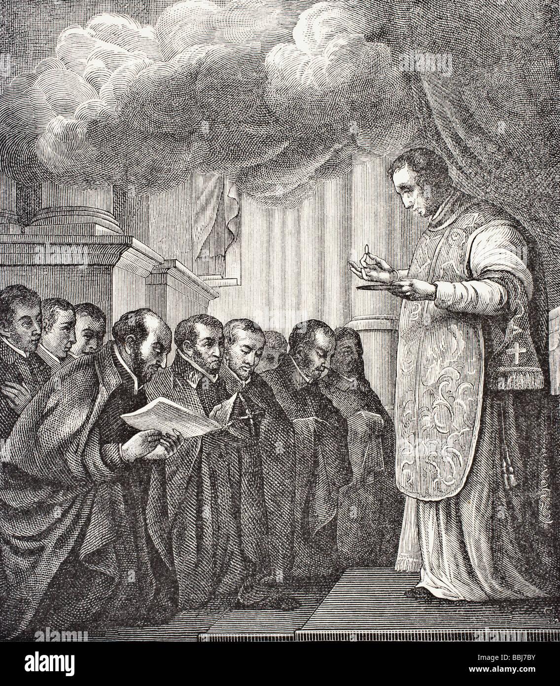 Voto de los primeros compañeros de San Ignacio en la iglesia de Montmatre en el día de la Asunción Imagen De Stock