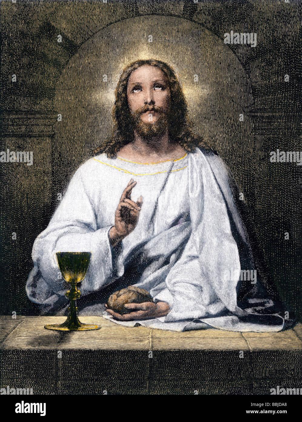 La bendición de Jesús, pan y vino de Emaús. Xilografía coloreada a mano Imagen De Stock