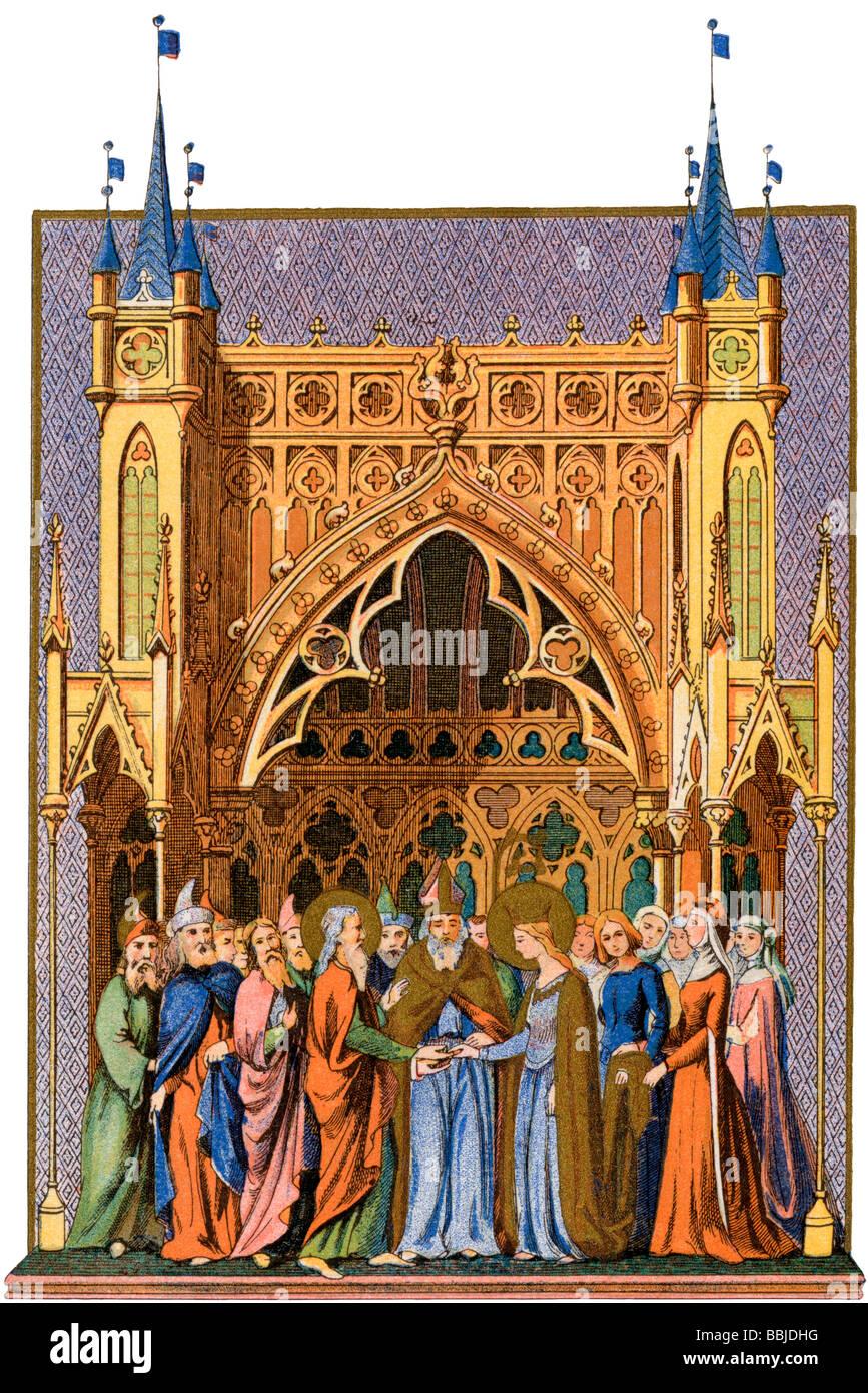 El matrimonio de la Virgen María. Litografía en color de una miniatura de un libro de horas medieval Imagen De Stock