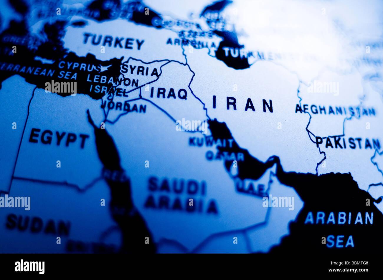 Irán Irak globo azul planeta tierra Mapa mundial Imagen De Stock