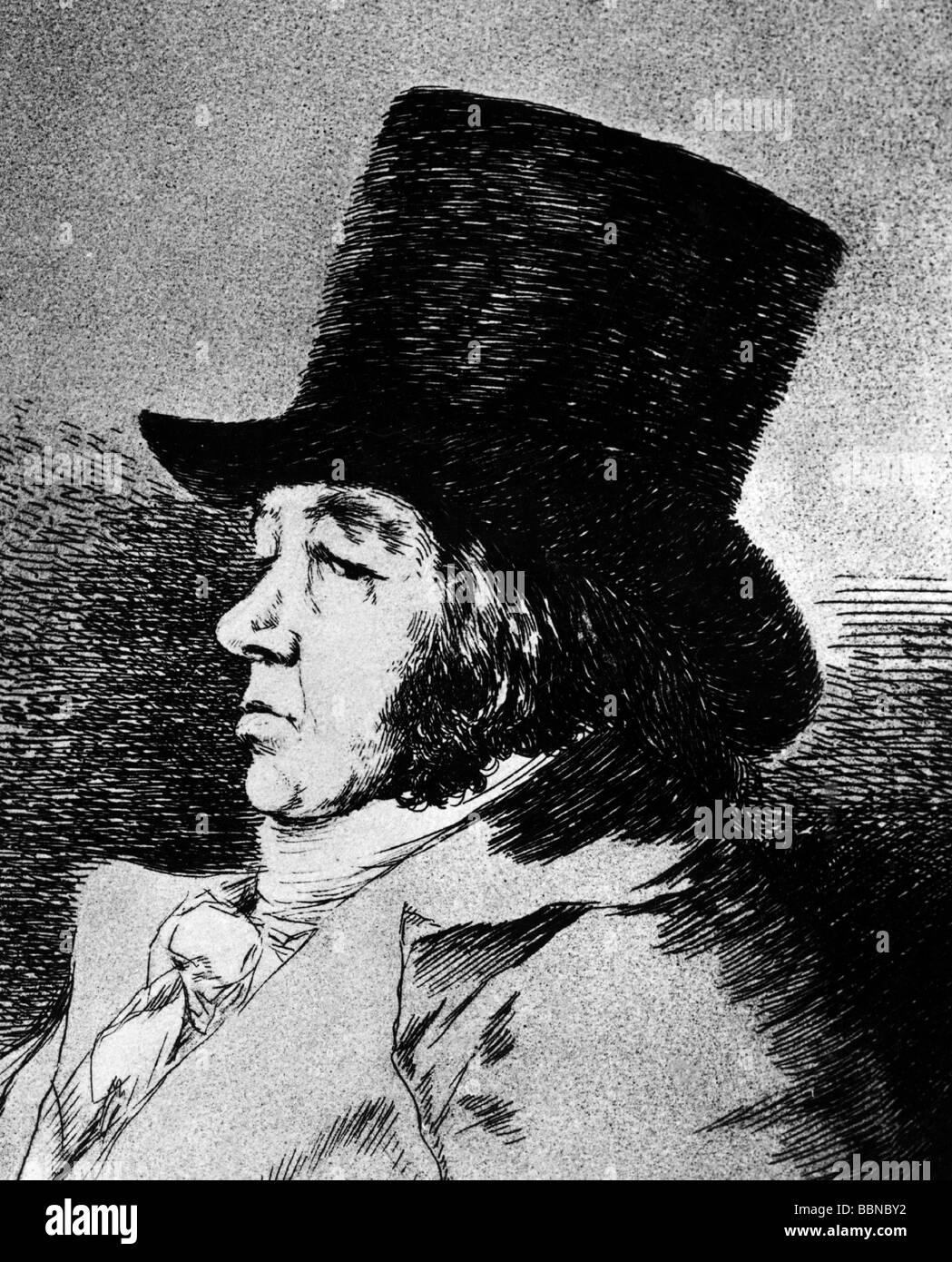 Goya y Lucientes, Francisco de, 30.3.1746 - 16.4.1828, pintor español, autorretrato, cara lateral, grabado, Foto de stock