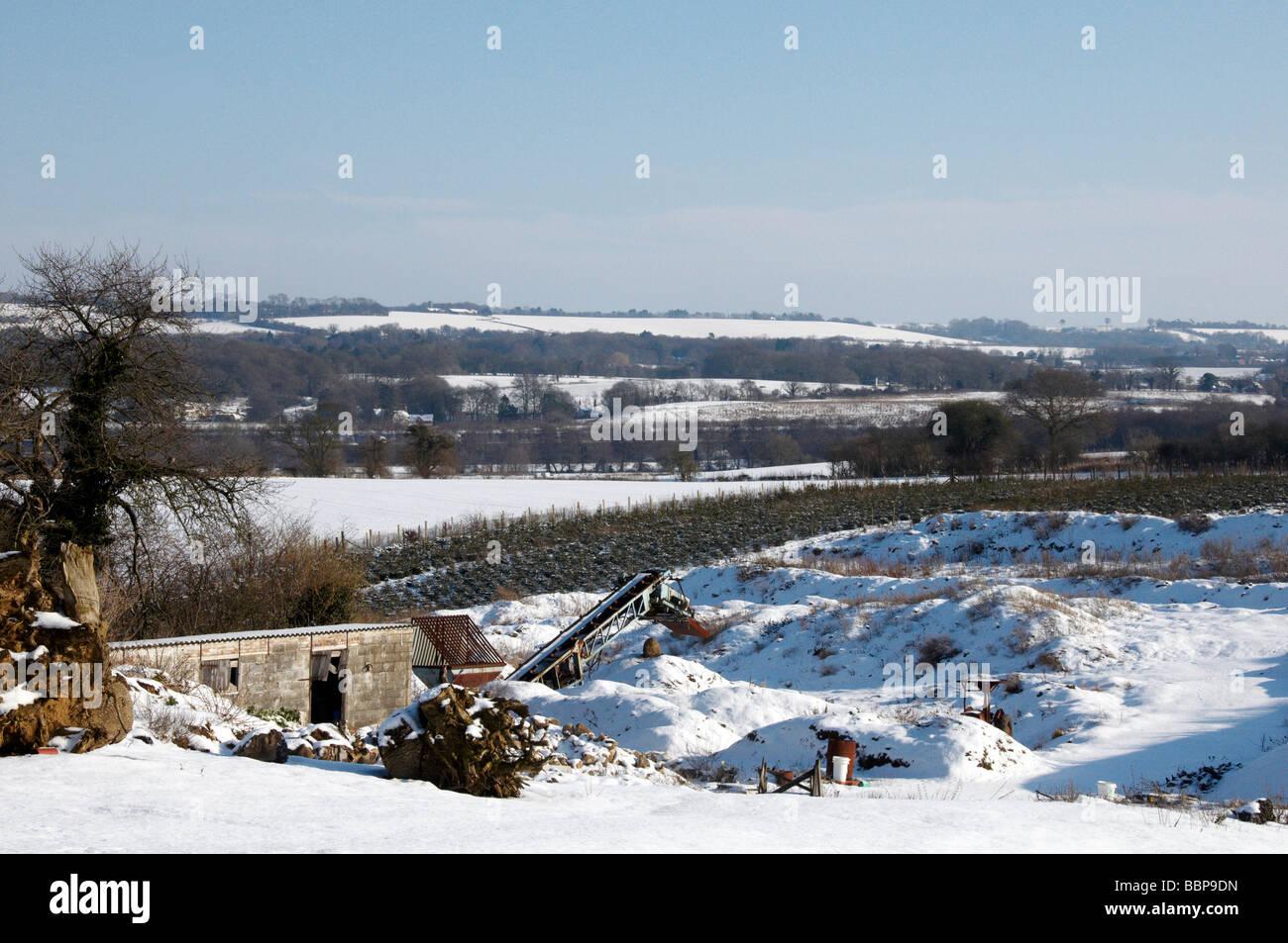 Una vista de la campiña de Kent en invierno Foto de stock