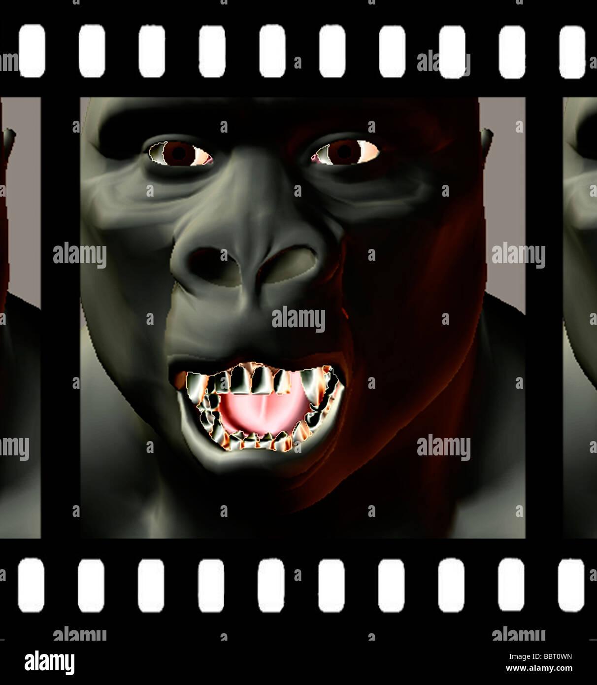 Ilustración 3D generada por ordenador de ape en películas de cine frame Imagen De Stock