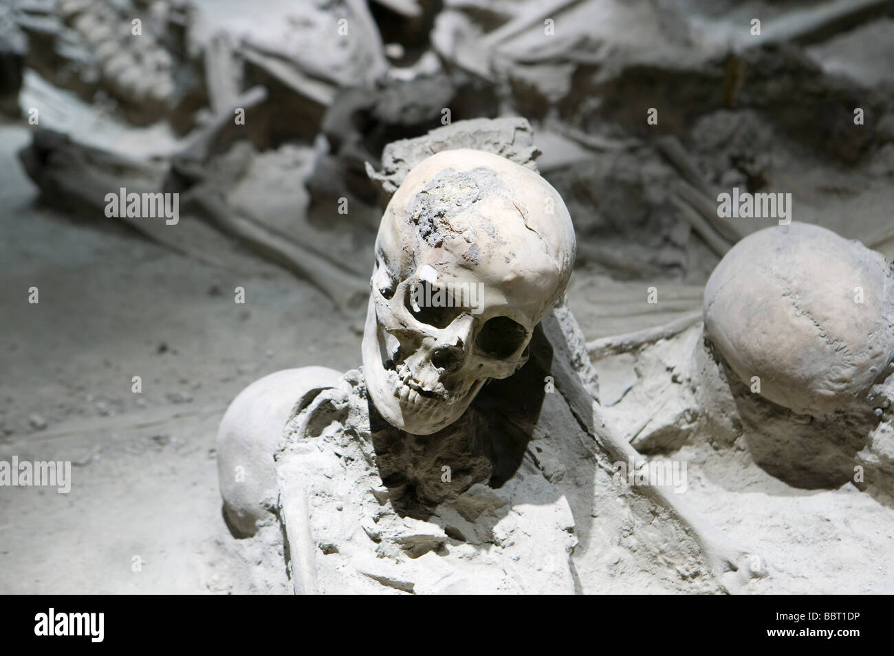 Esqueleto Humano víctima Herculano Vesubio Naples Italia museo recreación representación atracttion Imagen De Stock