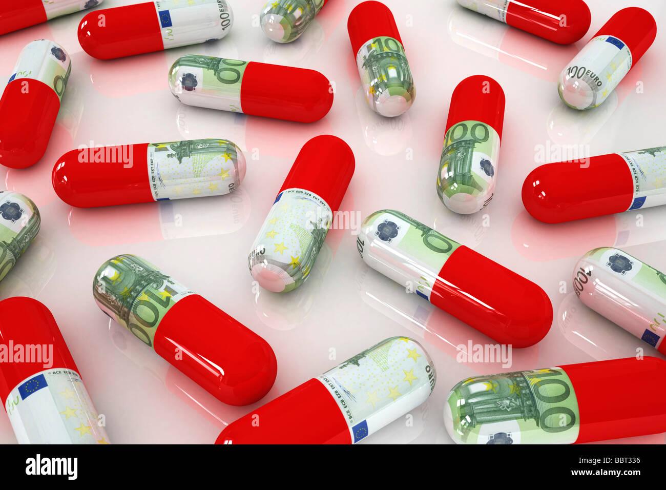 Medicamentos caros, ilustración del concepto de los costos del cuidado de la salud Foto de stock