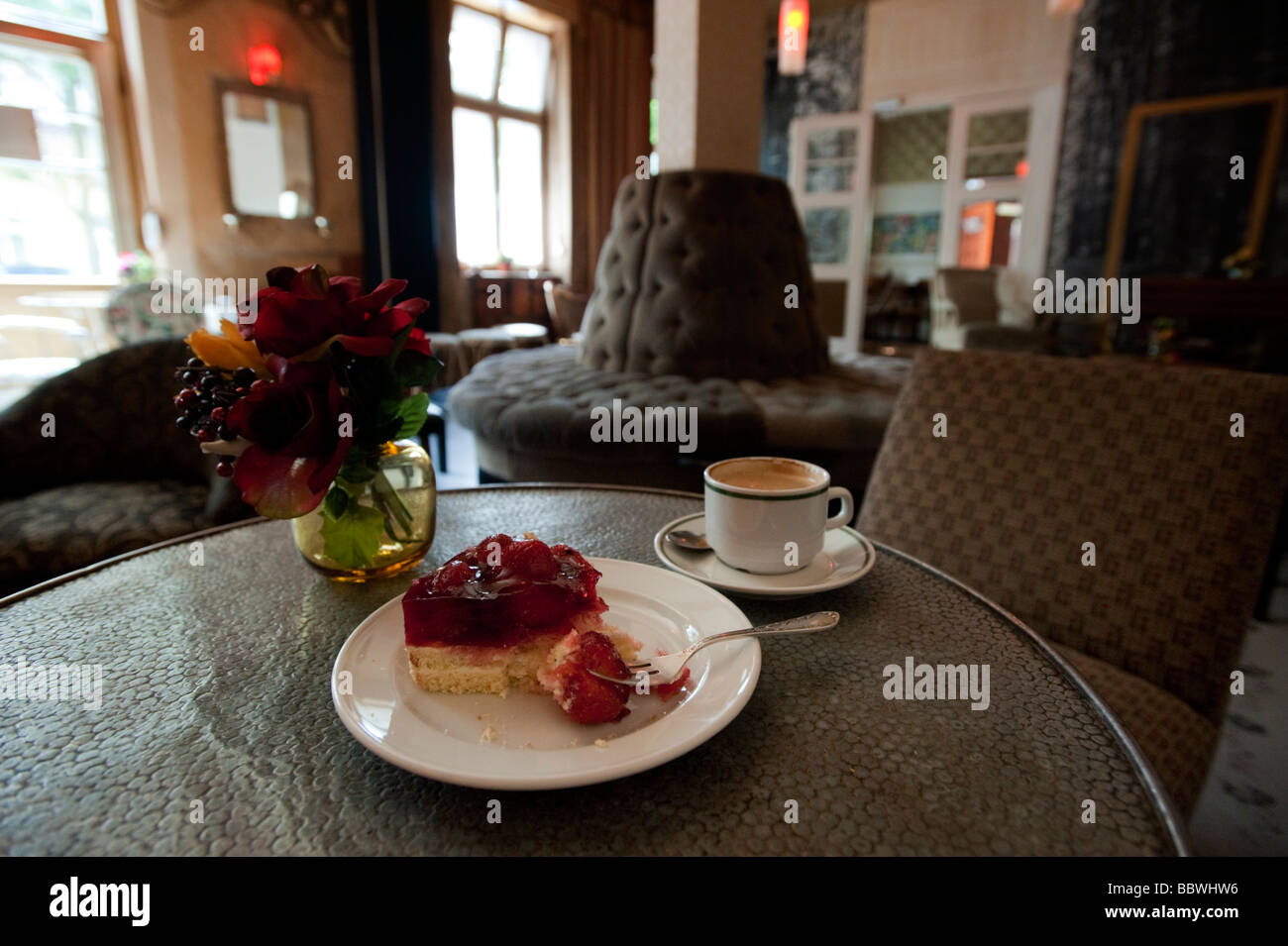 Detalle de la decoración interior y el mobiliario de moda Café