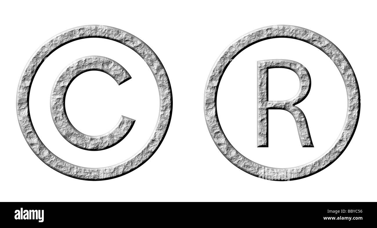3d stone copyright y símbolos registrados Foto de stock