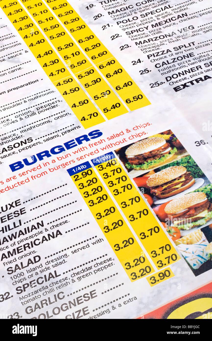 Cerrar un menú de comida para llevar comida rápida Imagen De Stock