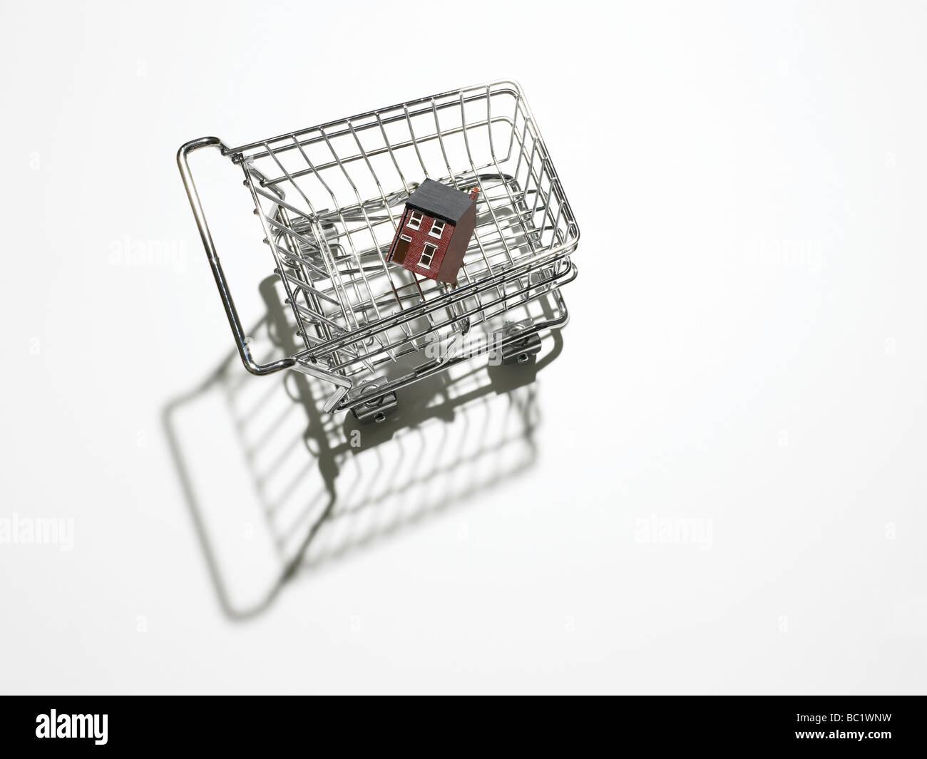 Casa en el carrito de la compra Imagen De Stock