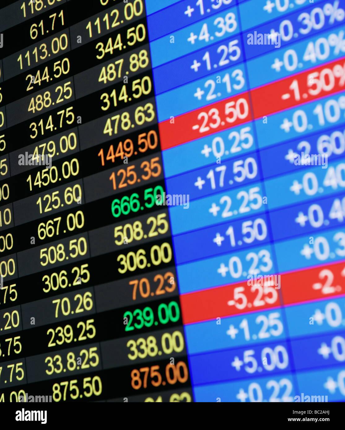 Visualización de cotizaciones bursátiles Imagen De Stock