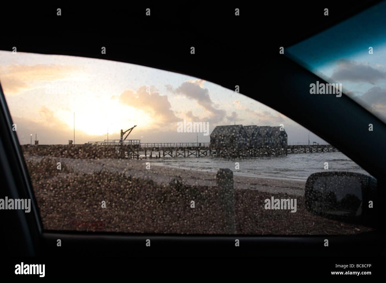 Día de lluvia en la playa Busselton, en el oeste de Australia. Imagen De Stock