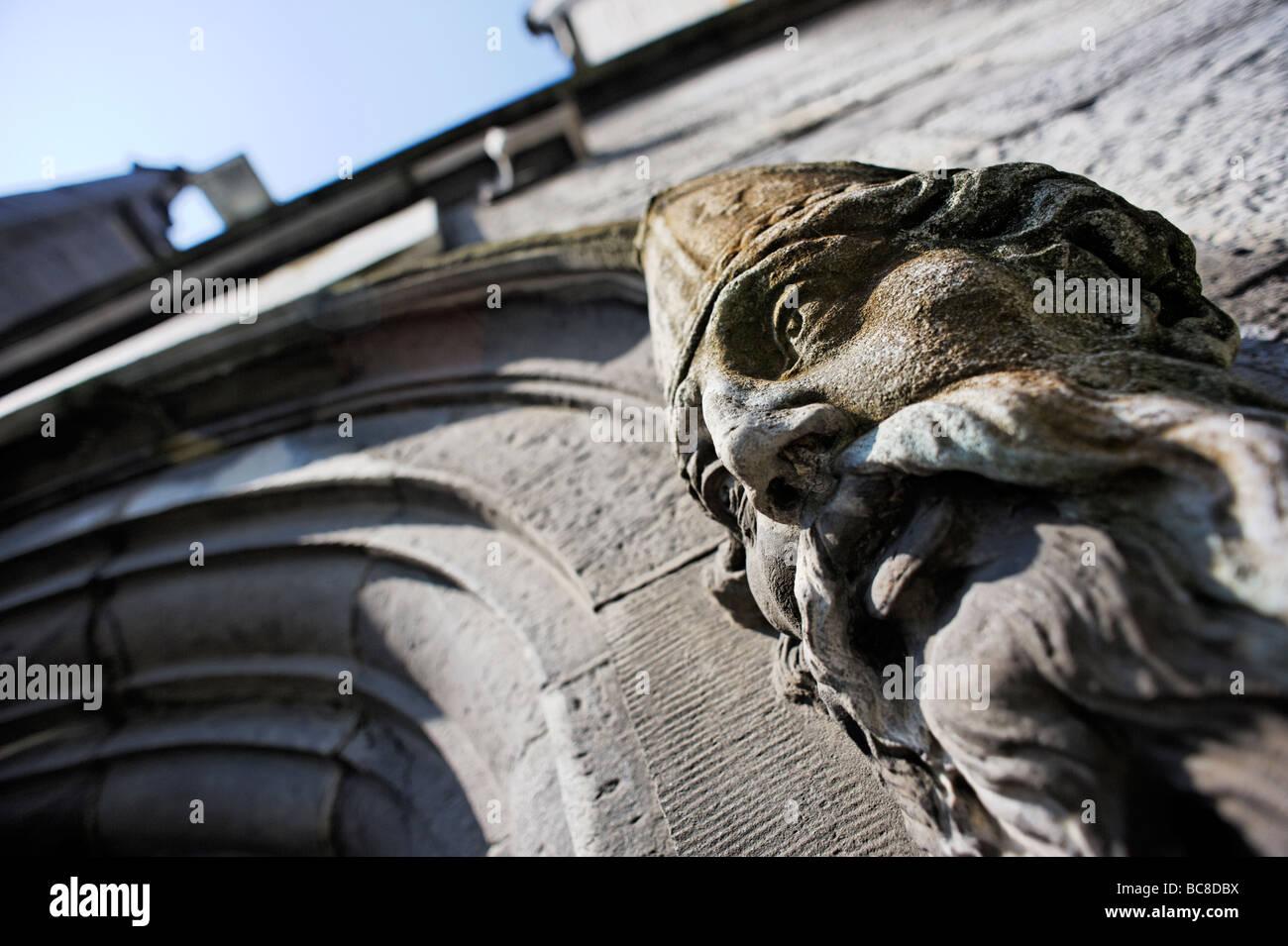 Detalle arquitectónico junto al umbral de la capilla real del Castillo de Dublín en Dublín, República Imagen De Stock