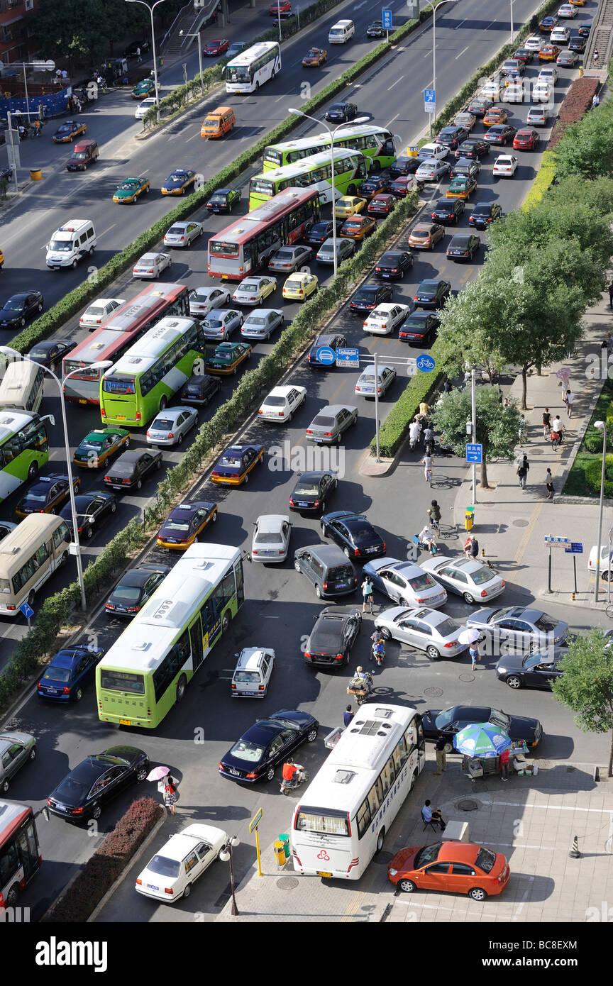 Atasco de tráfico en Beijing, China. 2009 Imagen De Stock