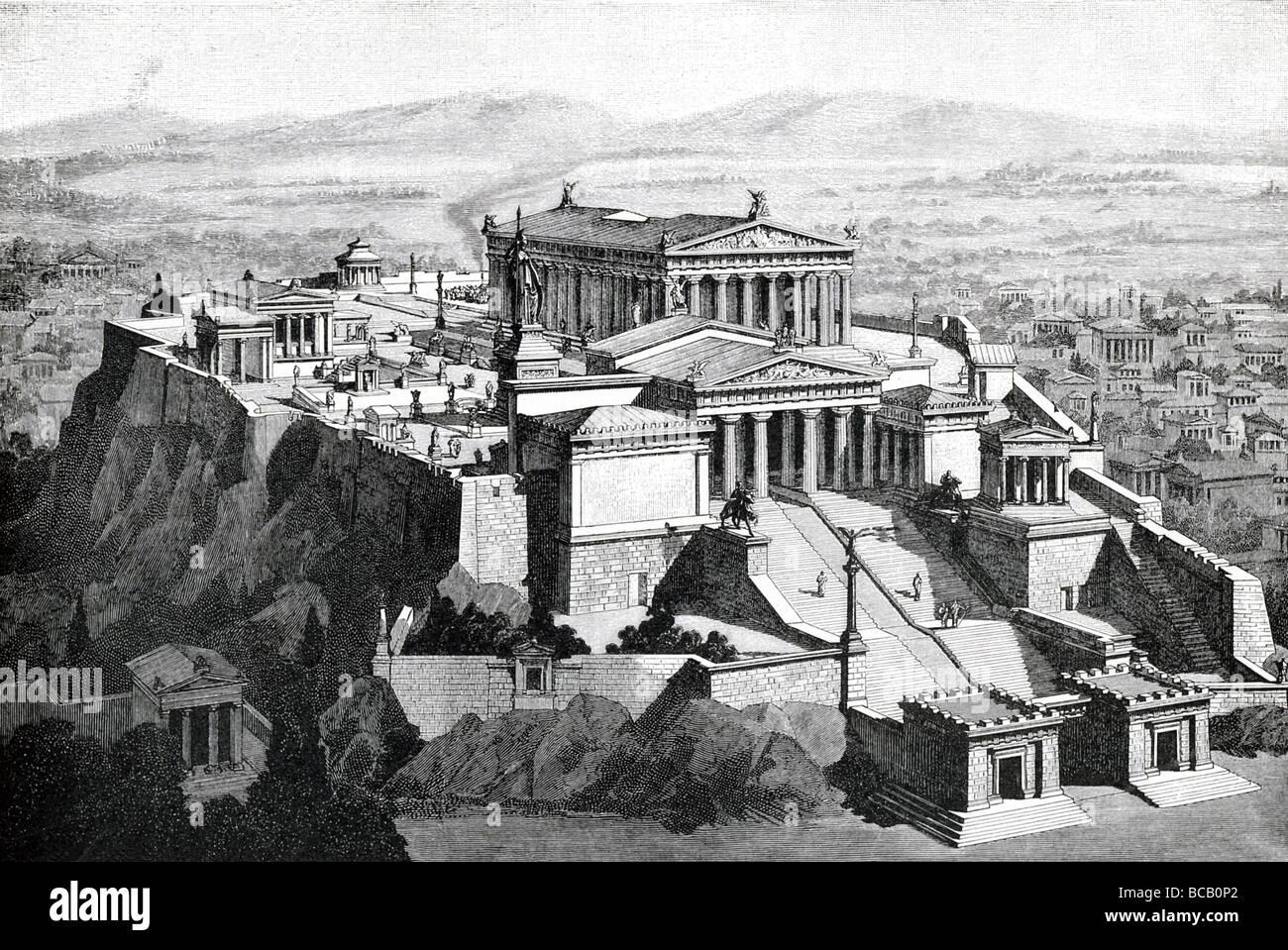 La Acrópolis en Atenas, Grecia, como se veía en los tiempos antiguos, con el Partenón y otros edificios Imagen De Stock