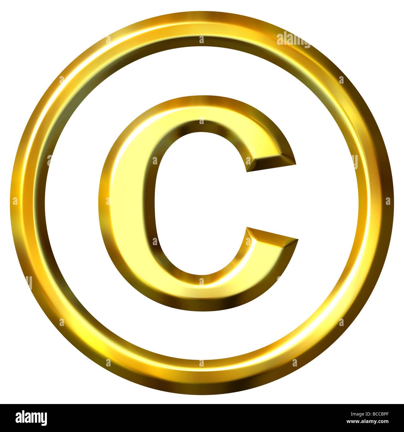 3d golden símbolo de copyright Foto de stock