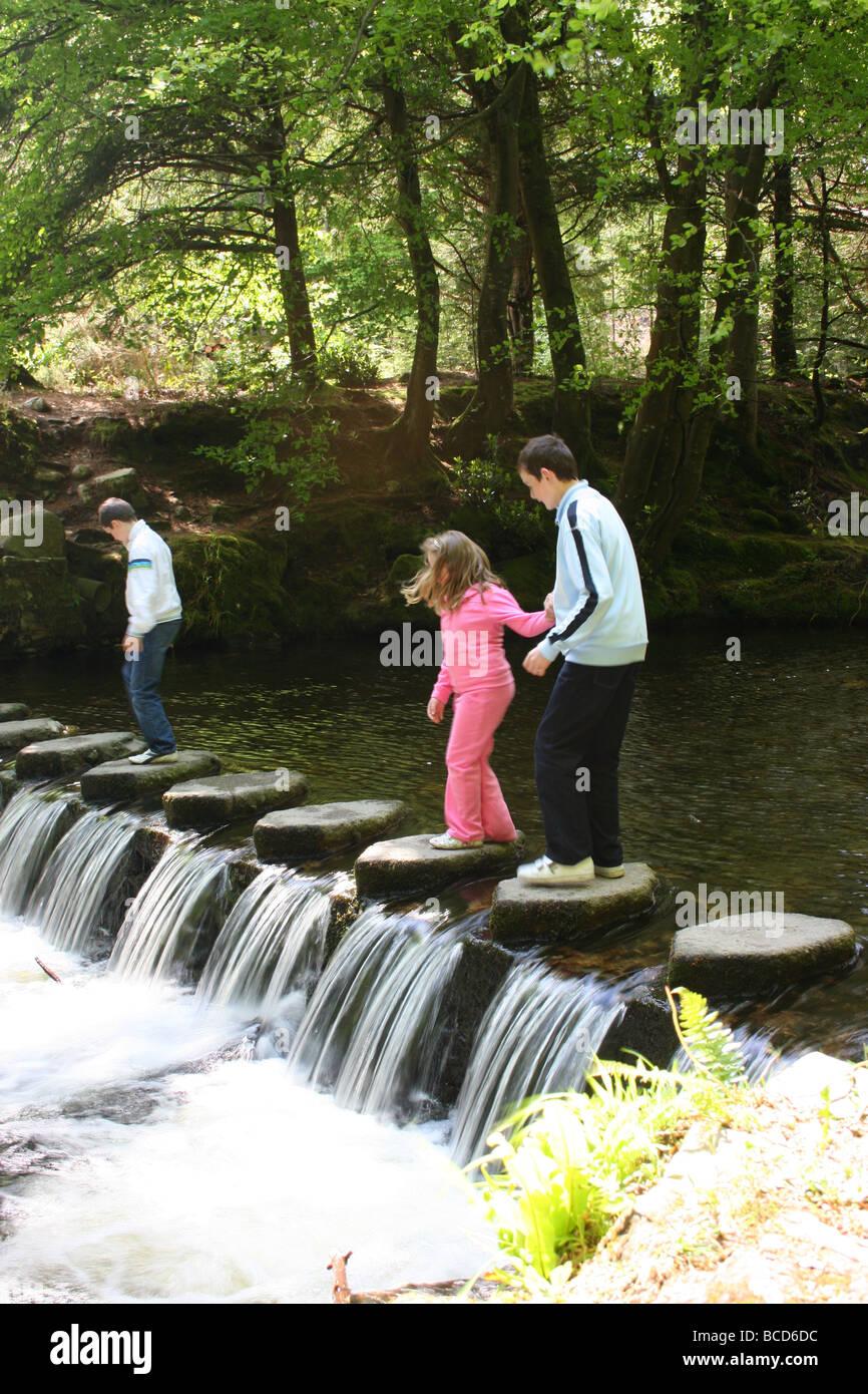 Niños jugando en el Stepping Stones sobre el río Shimna Tollymore Park, Condado de Down, Irlanda del Norte Foto de stock