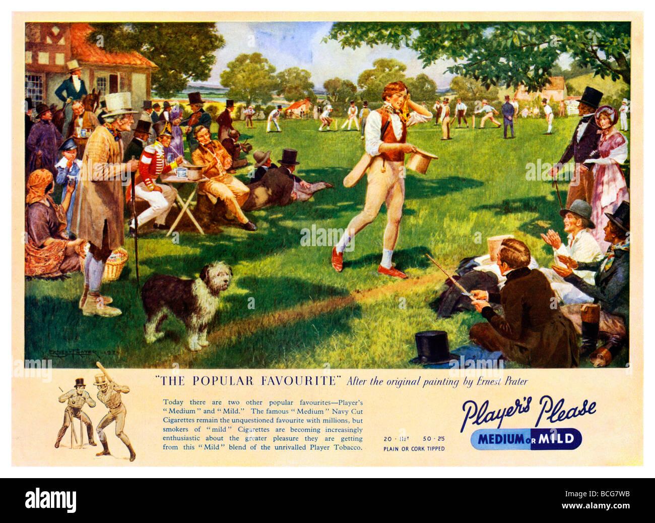 Un favorito Popular 1930 ad para jugadores cigarrillos utilizando el Ernest Prater de pintar un juego de cricket Imagen De Stock