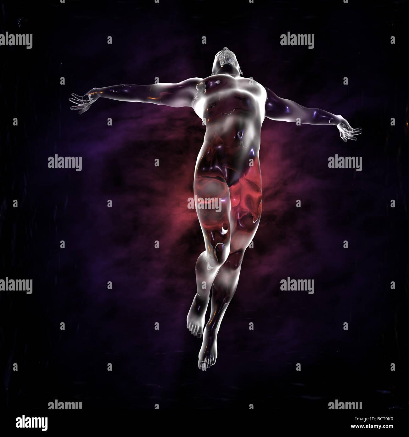 Un hombre de cristal se eleva en ascensión, con un fondo de Luces etéreas. La imagen tiene muchas implicaciones Imagen De Stock