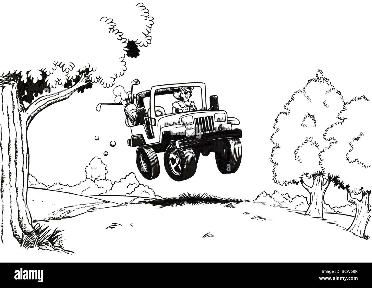 Fore-wheeling b-w por Brian Diskin, ilustración Imagen De Stock
