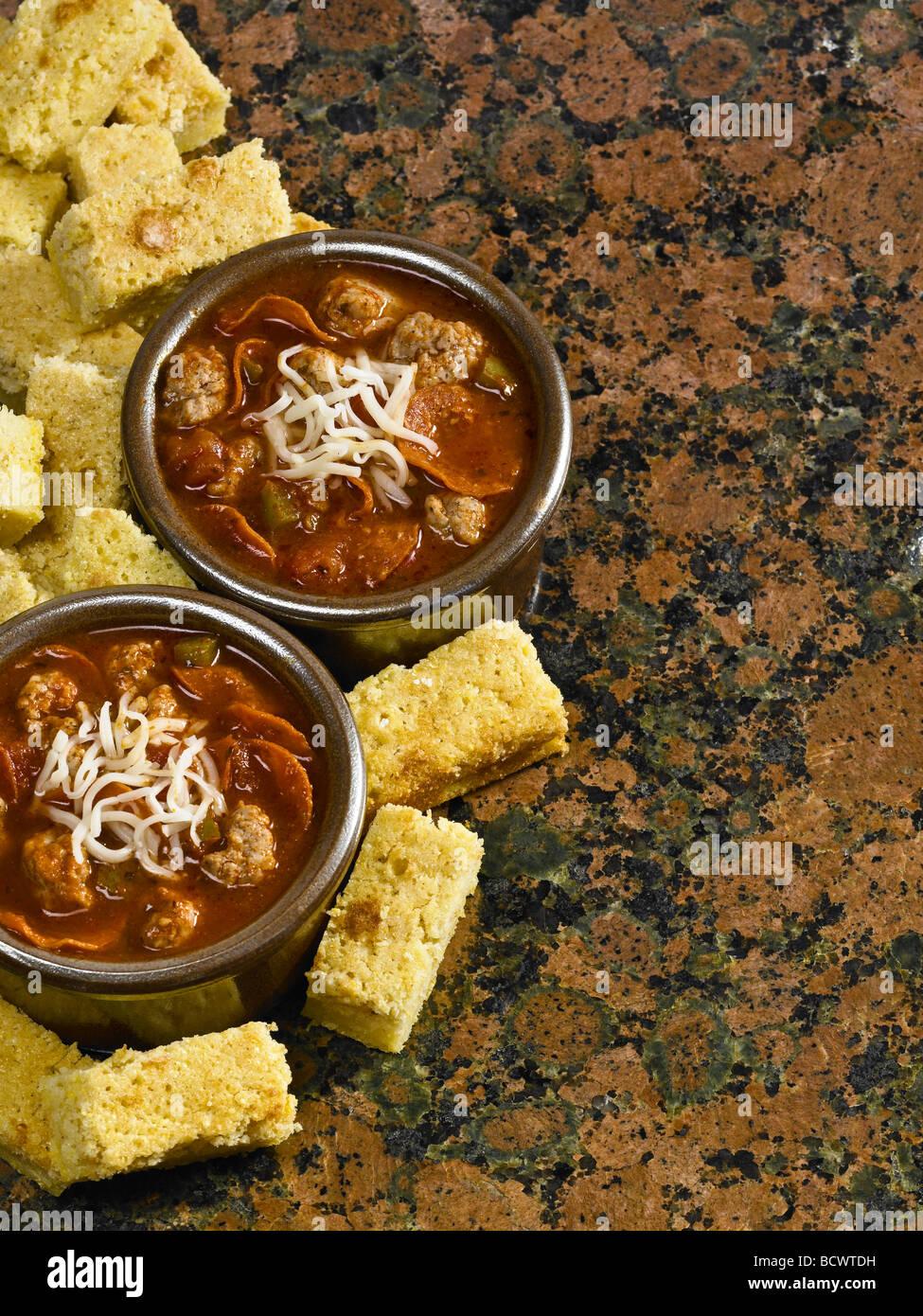 Recetas de cocina del país, pizza y mantecoso sopa de pan de maíz ...