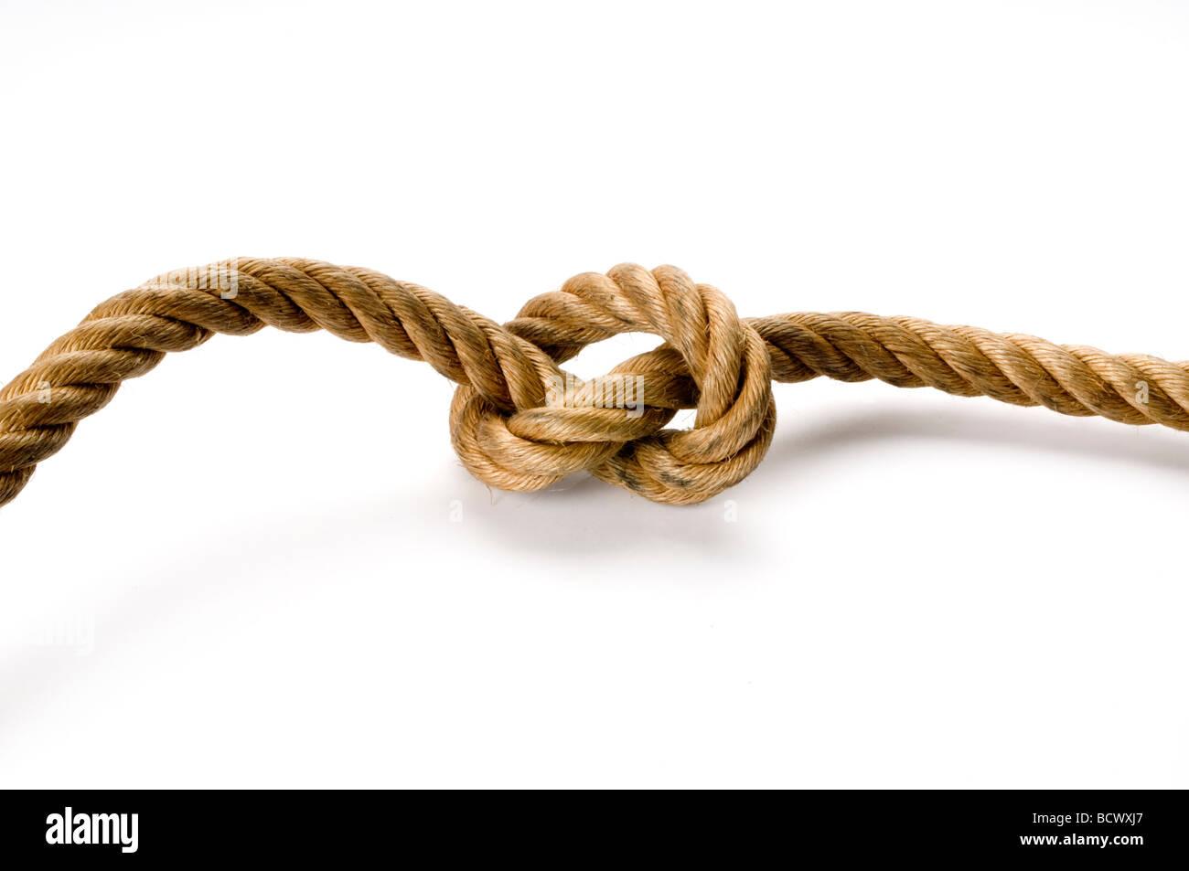 Nudo de cuerda en blanco Imagen De Stock