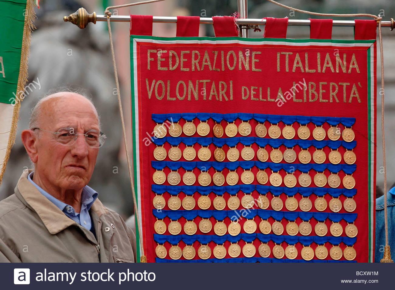 Milán, 25 de abril manifestación Foto de stock