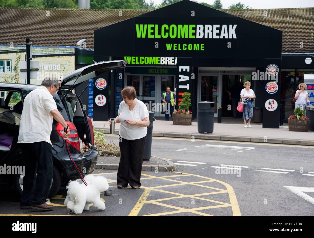 Estación de servicio Welcome Break de la autopista Foto de stock