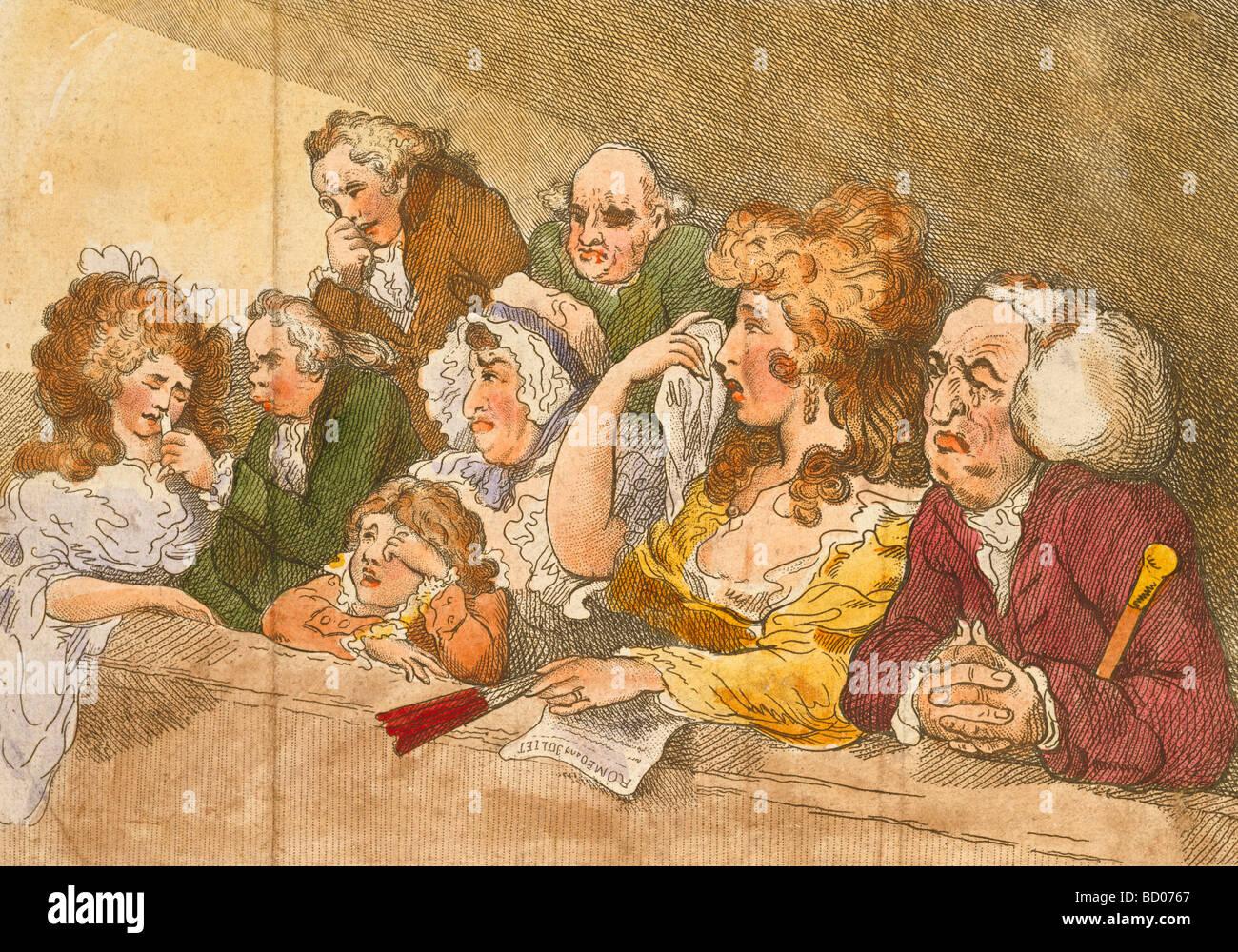 La tragedia de espectadores, de Thomas Rowlandson. Londres, Inglaterra, en 1789. Foto de stock