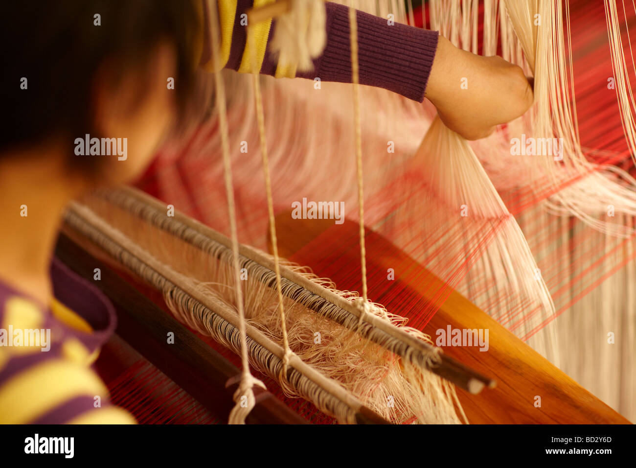 Tejido de seda, Luang Prabang, Laos Imagen De Stock
