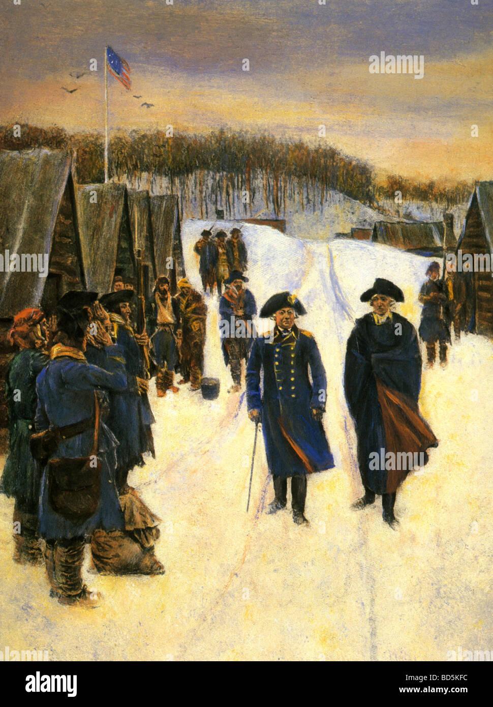 Barón Friedrich von Steuben en izquierda y George Washington con los soldados en Valley Forge en 1777 Foto de stock