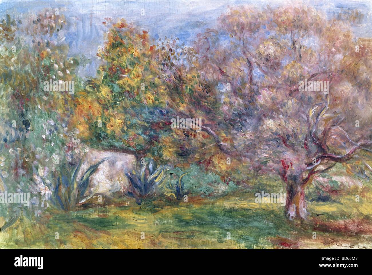 Finea, rts, Auguste Renoir (1841 - 1919), pintura, Jardín 'Live', el Museo Folkwang, de Essen, el impresionismo, Imagen De Stock