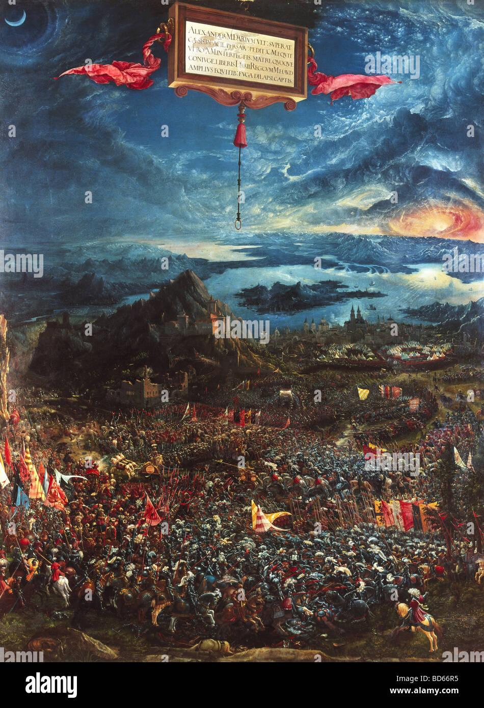Bellas artes, Altdorfer, Albrecht (1480 - 1538), la pintura 'Alexanderschlacht', (Batalla de Alejandro Magno), Imagen De Stock