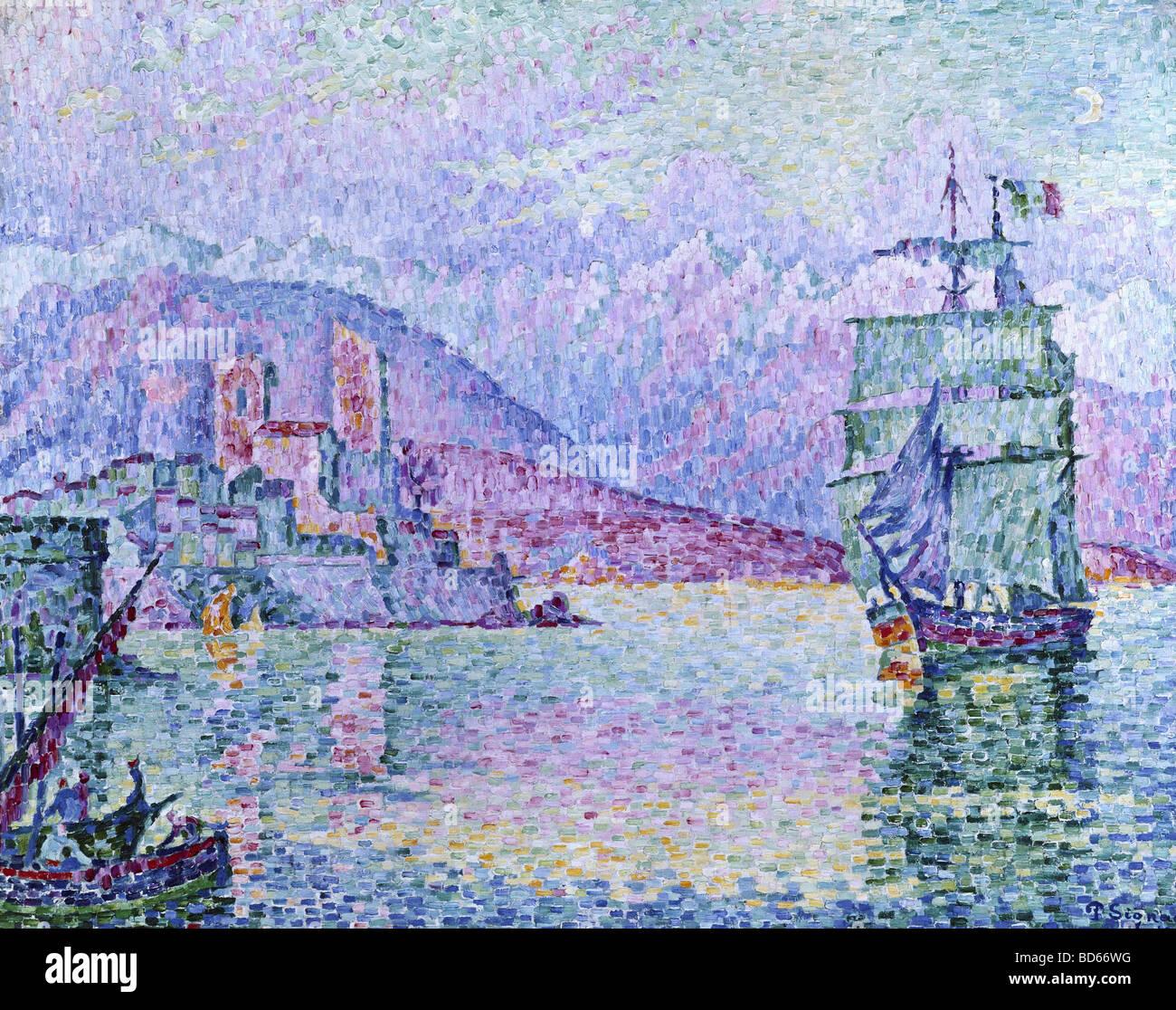 """Bellas artes, Signac, Paul (1863 - 1935), pintura, 'Antibes, tarde"""", 1914, óleo sobre lienzo, Musee de la ville, Estrasburgo, Fra Foto de stock"""