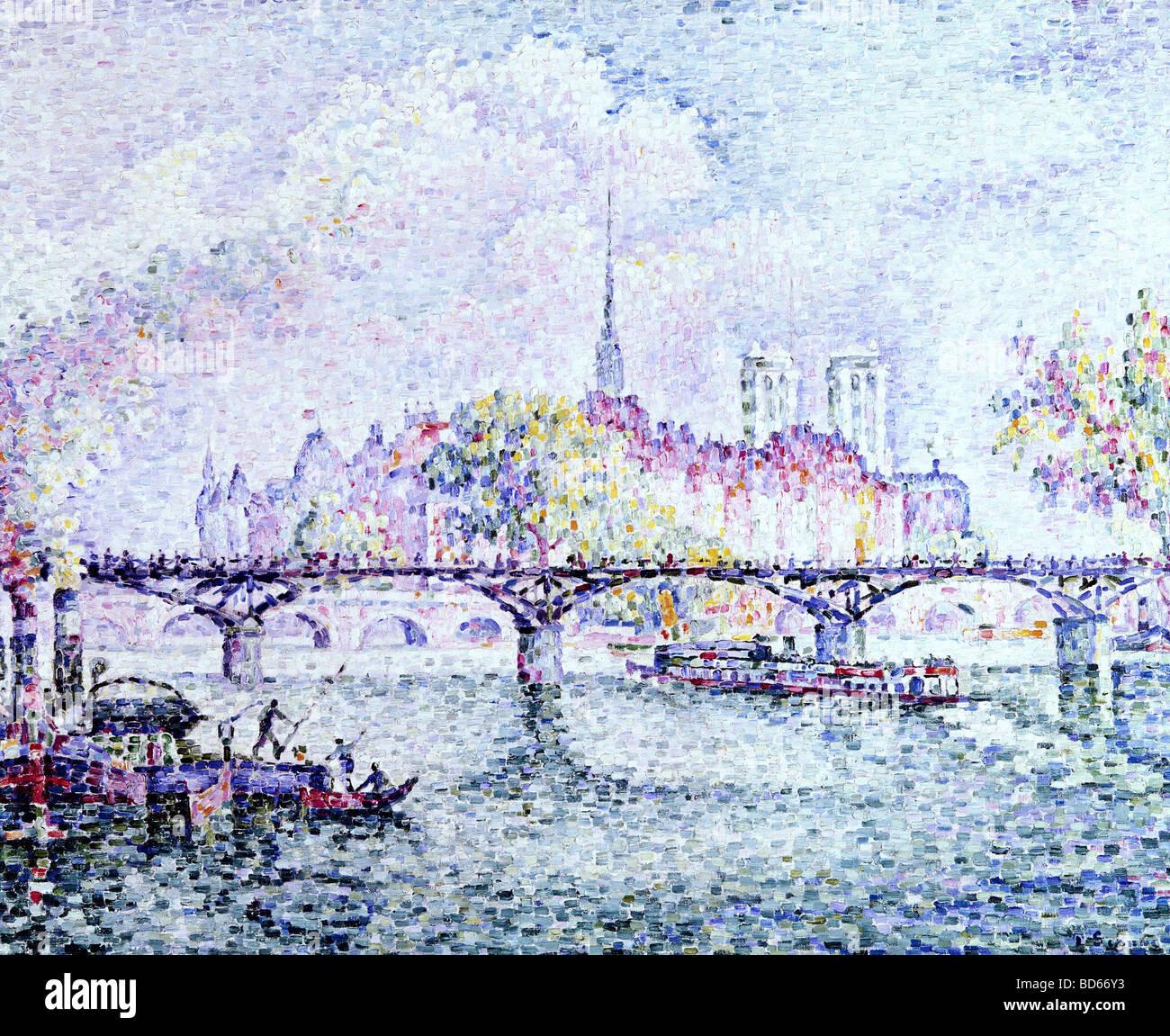 Bellas artes, Signac, Paul (1863 - 1935), pintura, 'París, Ile de la Cite', 1912, óleo sobre lienzo, Museo Folkwang, Foto de stock
