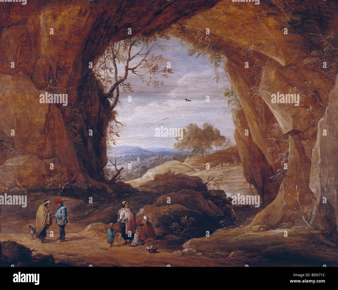 David Teniers el Joven (1610 - 1690), pintura, paisaje rocoso, el Museo Lázaro Galdiano, Madrid, holandés, Imagen De Stock