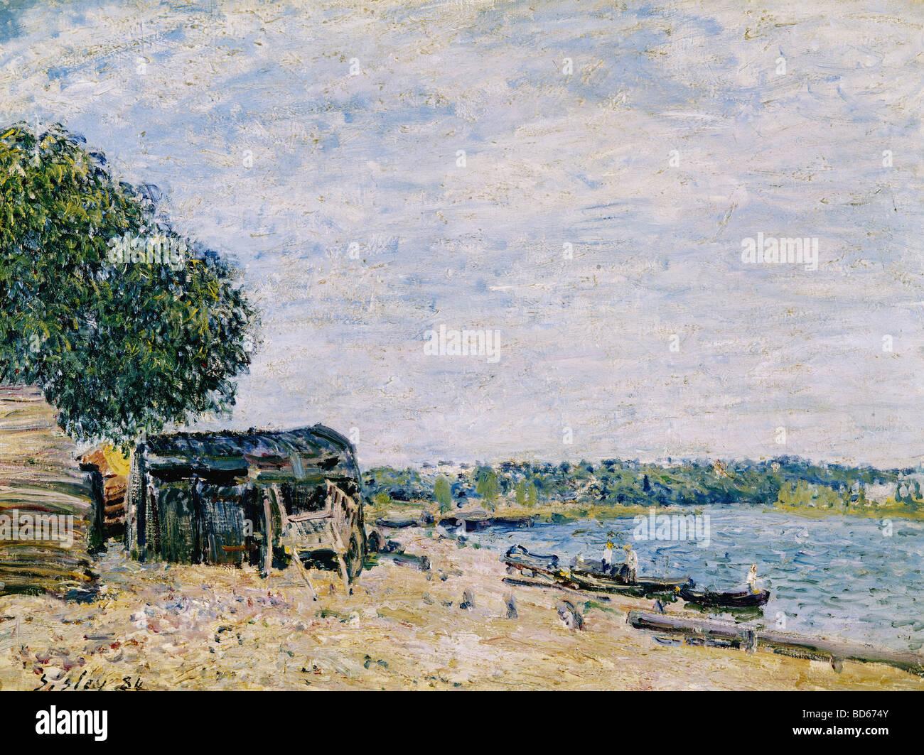 Bellas artes, Sisley, Alfred (1839 - 1899), pintura, 'Saint Mammes', 1884, Musée d'Art et d'Histoire, Geneve, Francés, impressi Foto de stock
