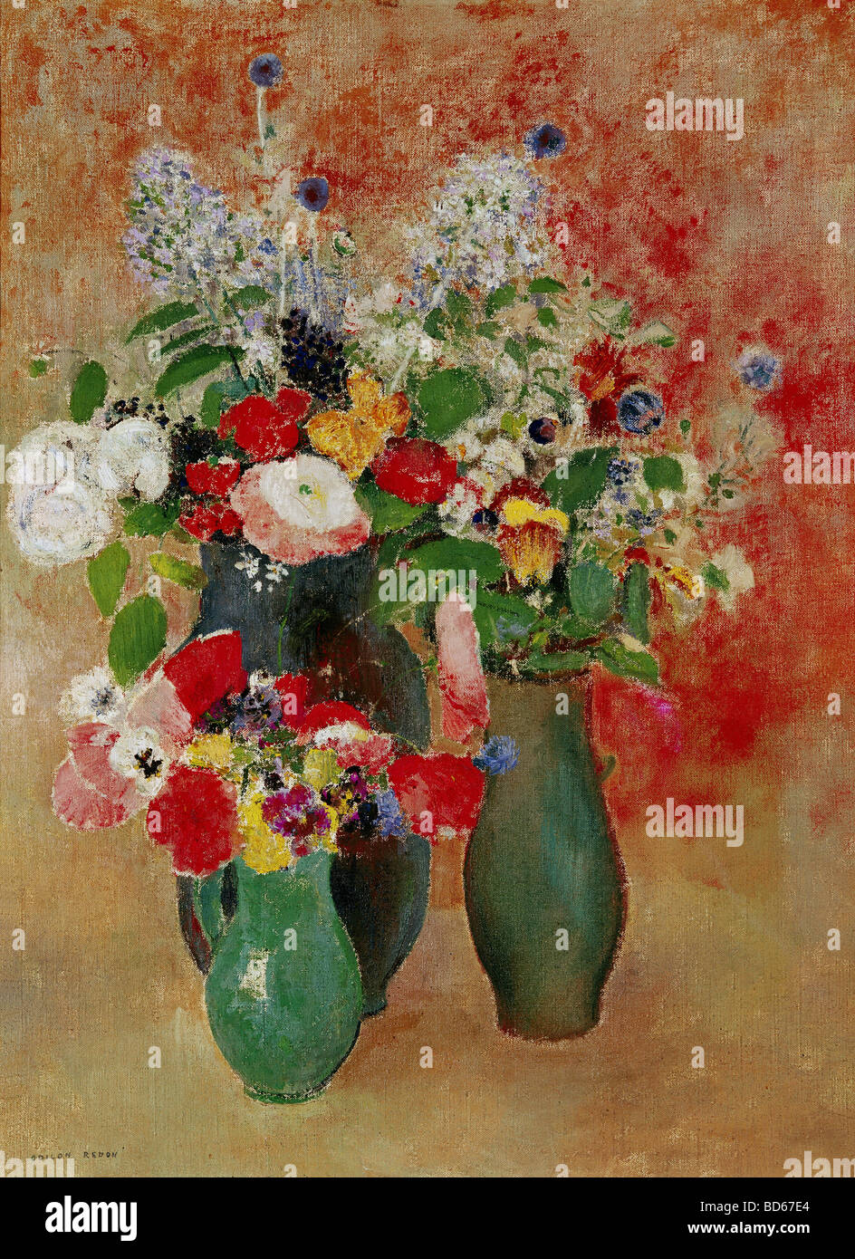 Bellas artes, Redon, Odilon, (22.4.1840 - 6.7.1916), pintura, 'flores bodegón', Von der Heydt-Museum de Wuppertal, Foto de stock