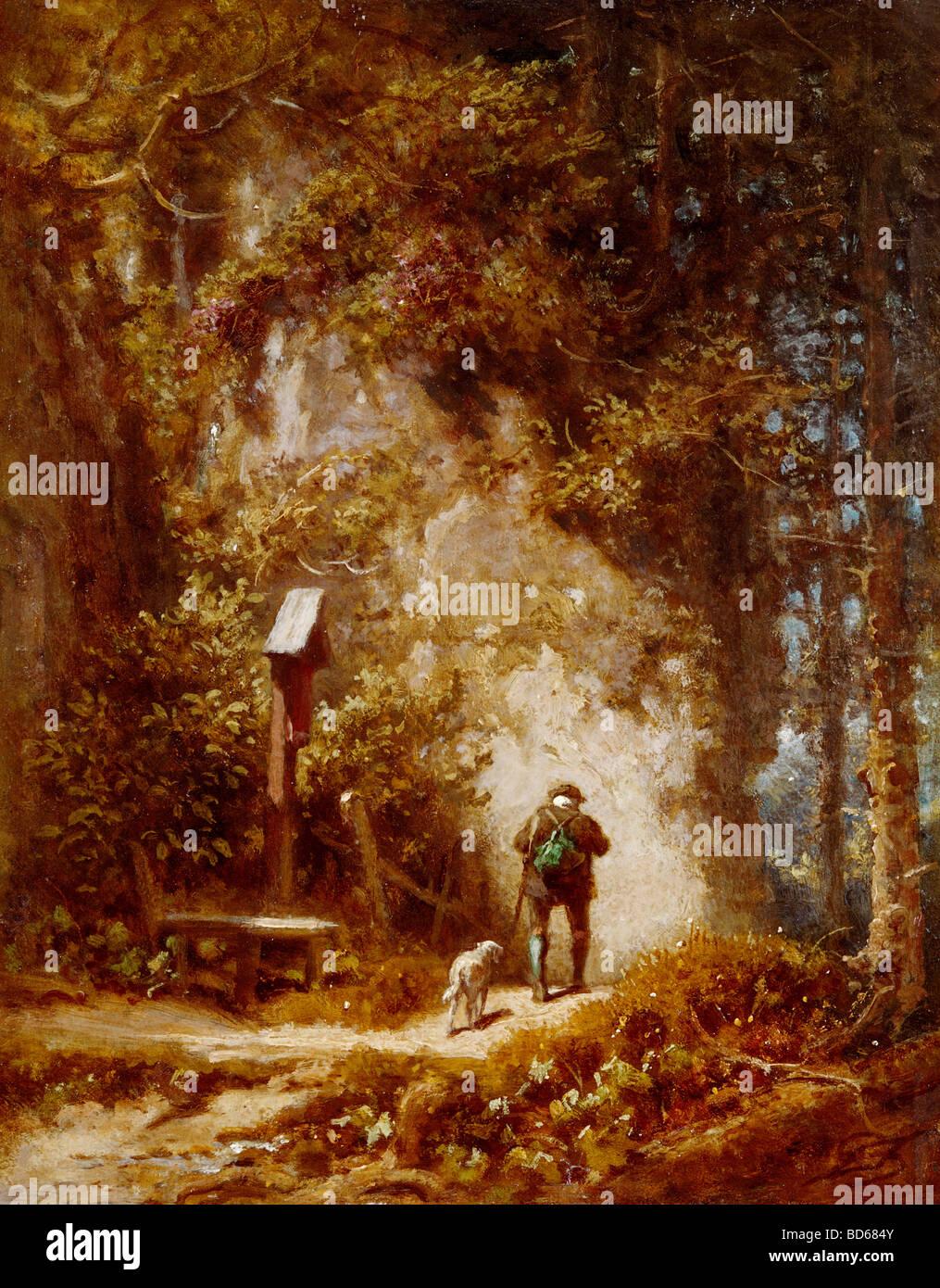 Bellas artes, Spitzweg, CARL (1808 - 1885), la pintura, el cazador en el bosque, Wimmer Gallery, Munich, madera, Foto de stock