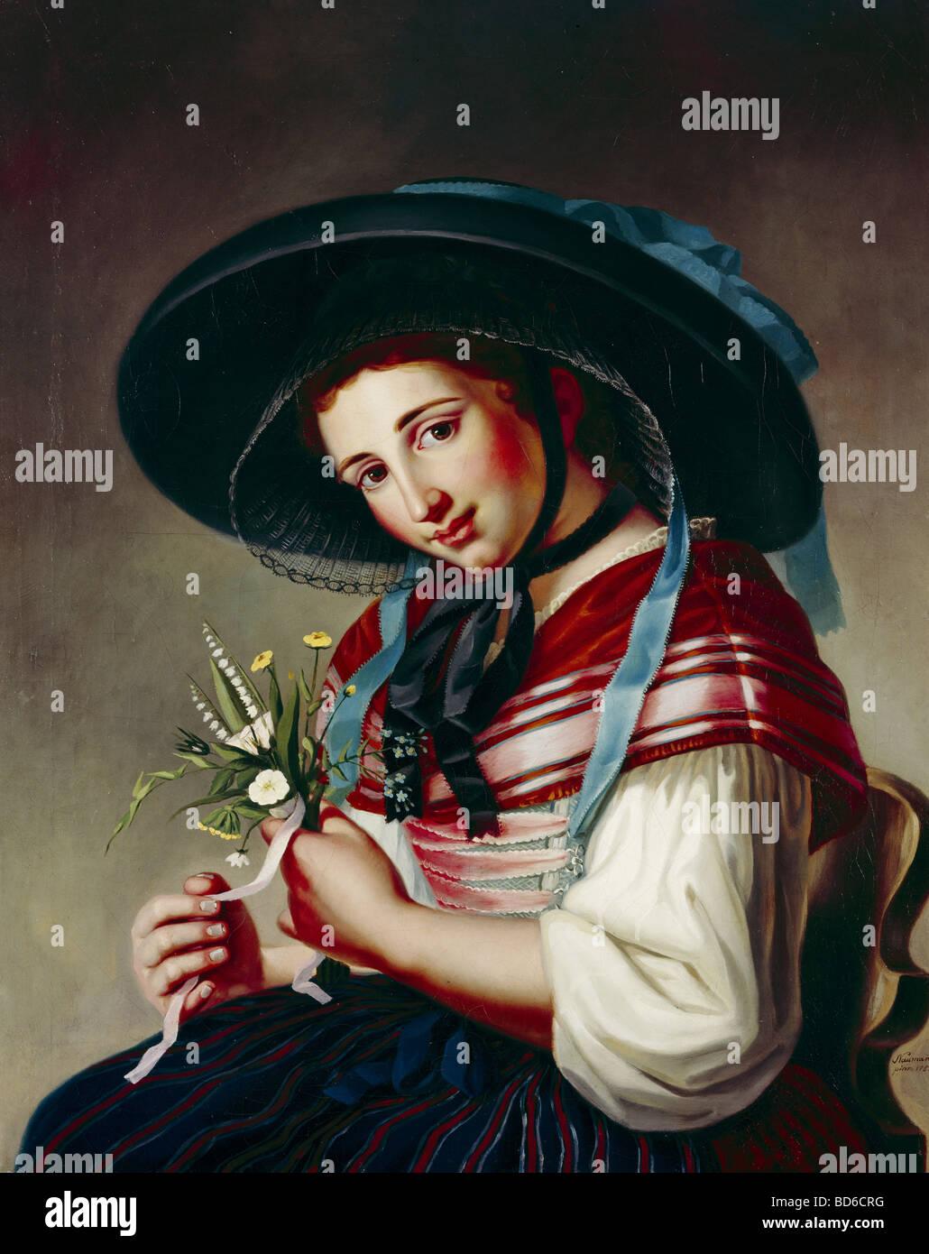 "Bellas artes, Neumann, Friedrich Gotthart (1750 - 1821): pintura, ""La belleza del Molino de plata' ('Die Imagen De Stock"