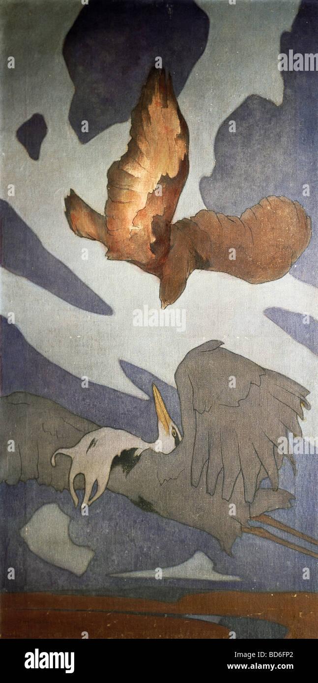 Las bellas artes, el Art Nouveau, gráfica, pintura para telas decorativas, por demás von Edge, óleo Imagen De Stock