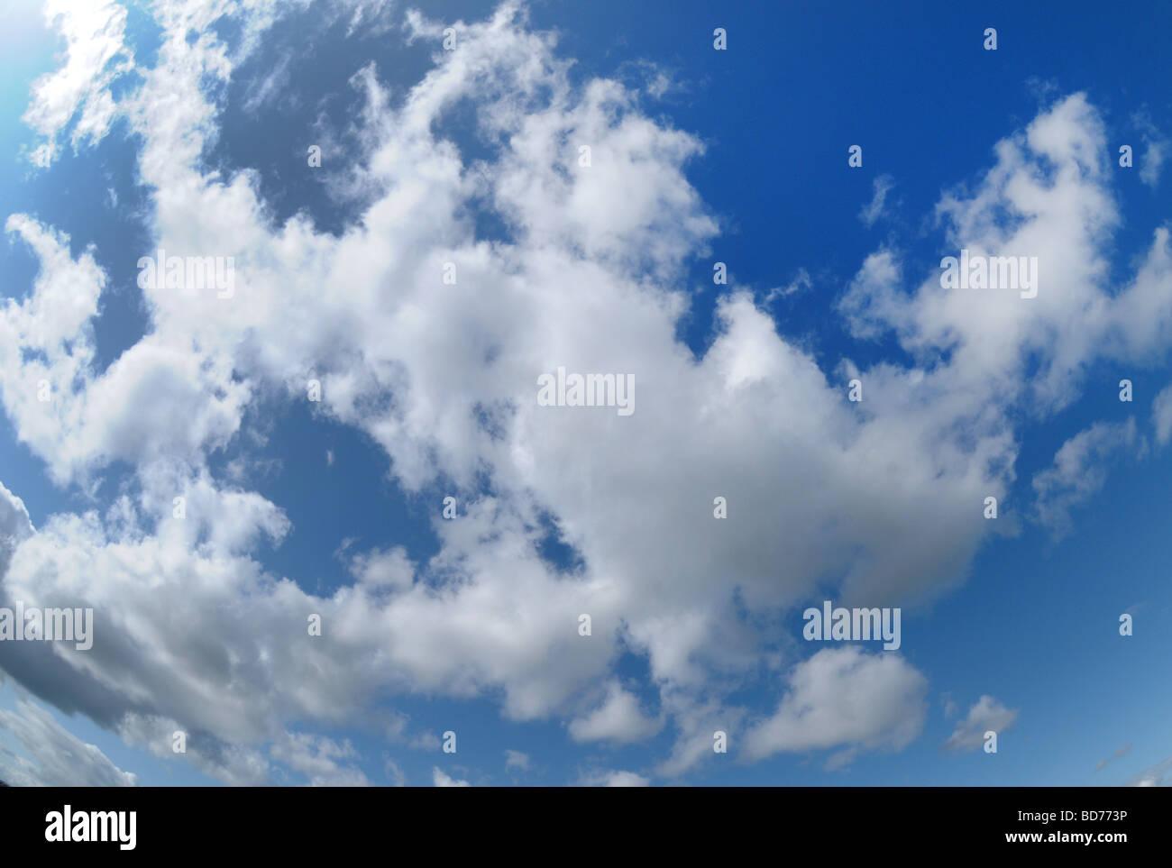 Cumulus nube y cielo azul. Foto de stock