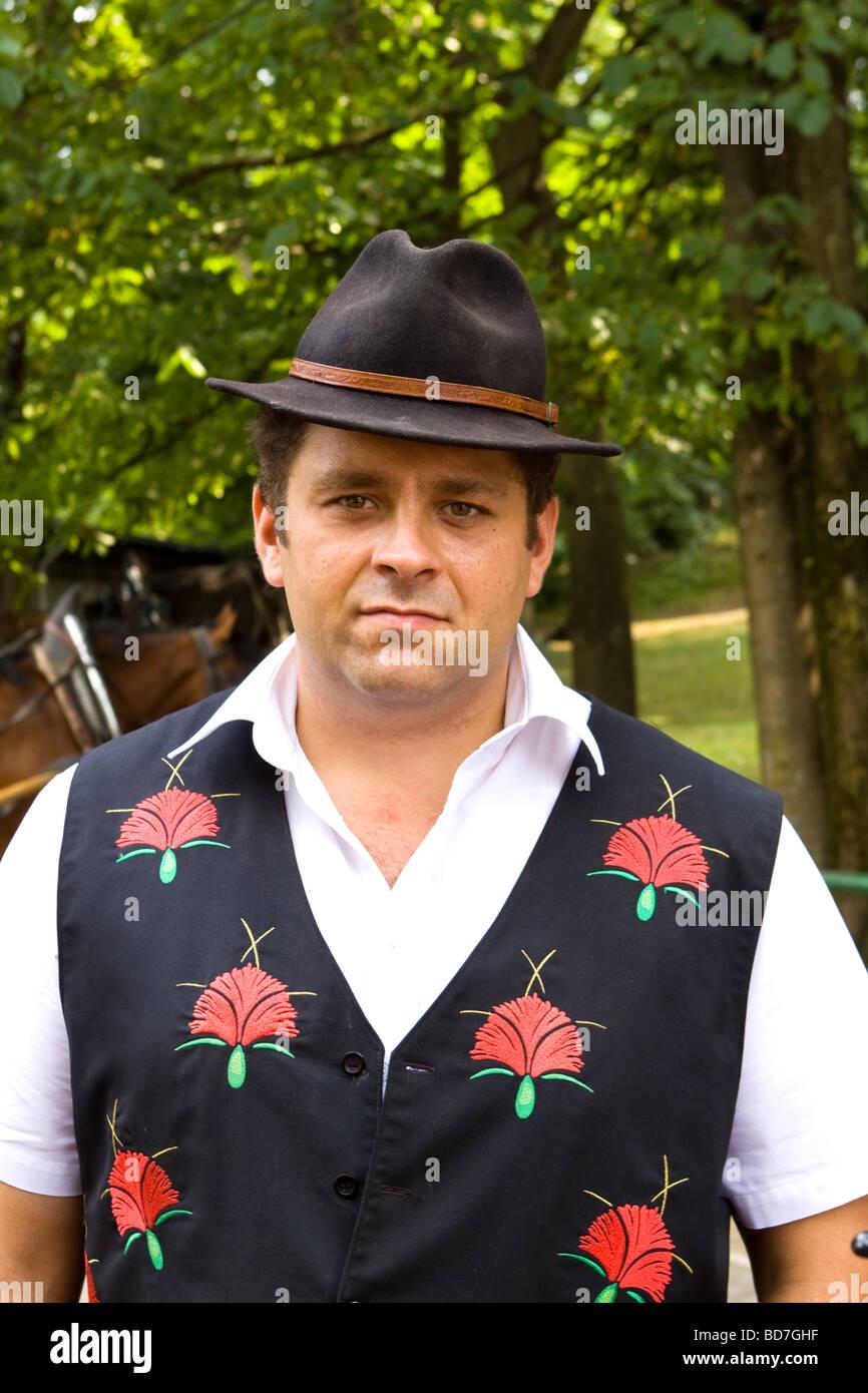 El caballo y el conductor del carro en traje tradicional, Bled Eslovenia Imagen De Stock