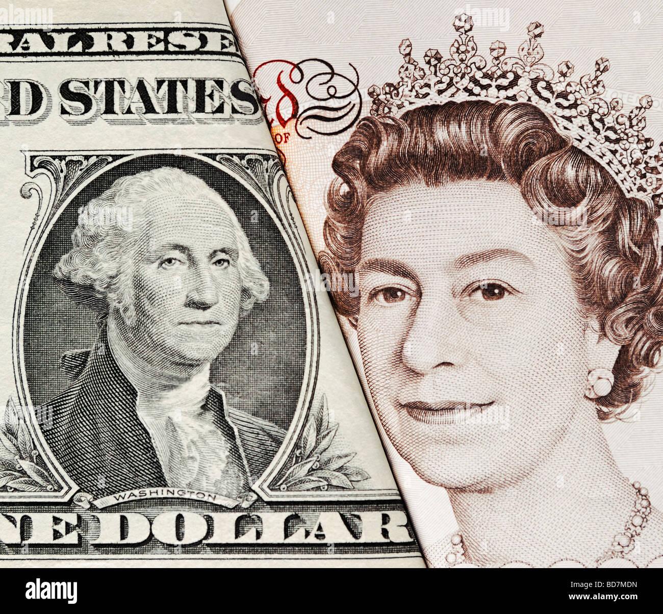 Dólares y libras de monedas de Gran Bretaña y los Estados Unidos de cerca Foto de stock