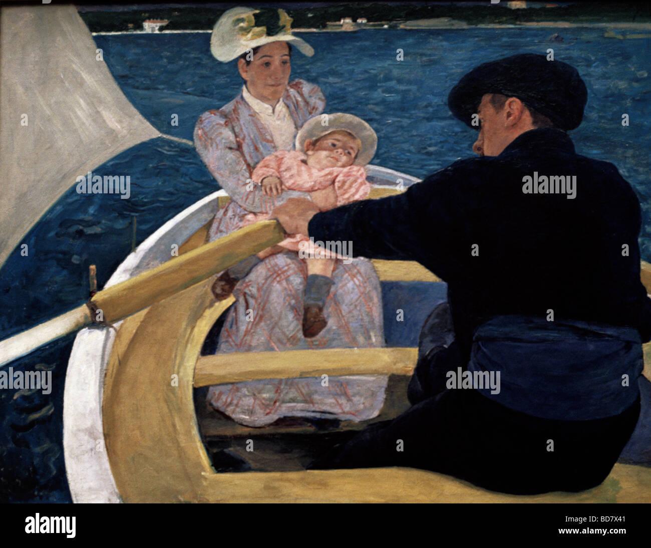 Bellas artes, Mary Cassatt (1844 - 1926), pintura, 'boat trip', aceite de lienzo, 90 x 188 cm, 1893, Galería Imagen De Stock