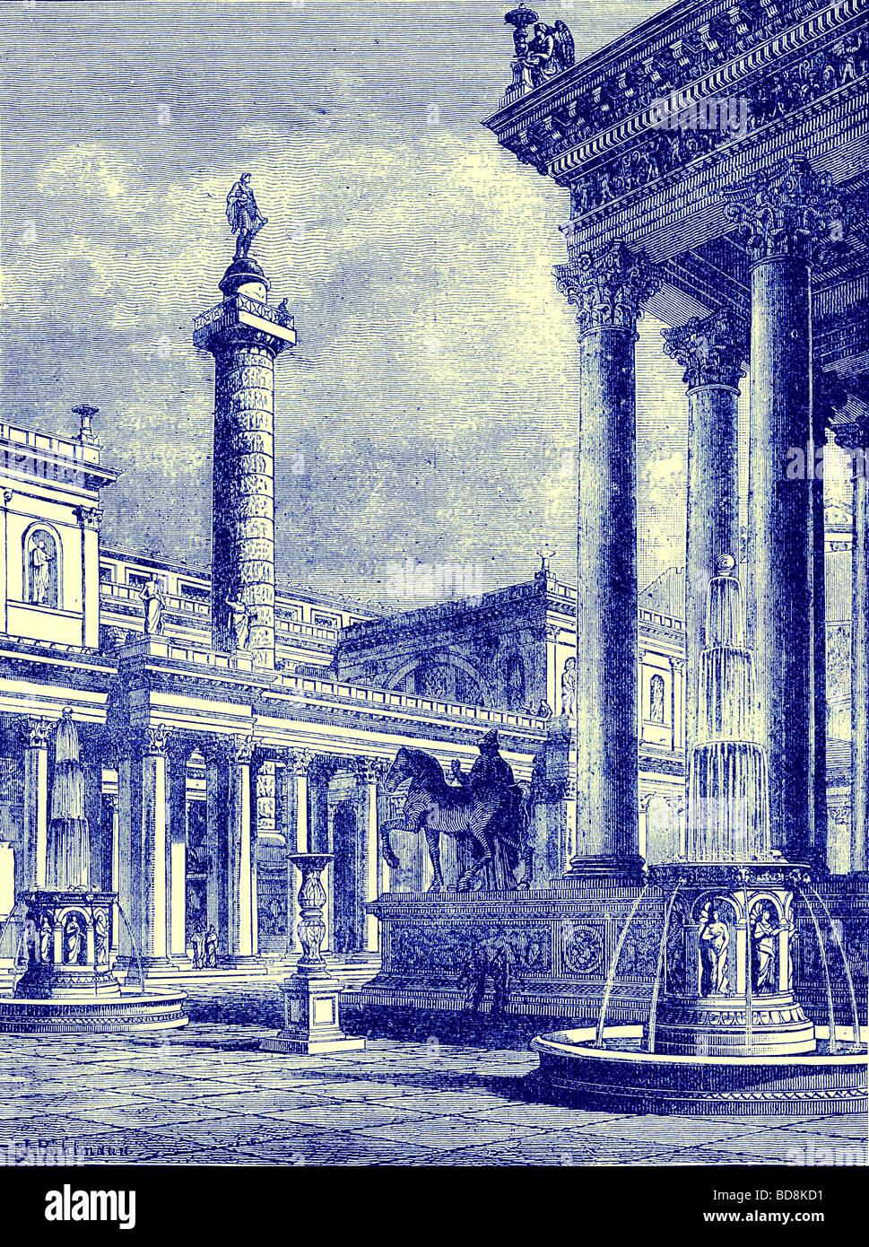El foro y la columna de Trajano Ilustración de Cassell s ilustra la historia universal por Edward Ollier 1890 Imagen De Stock