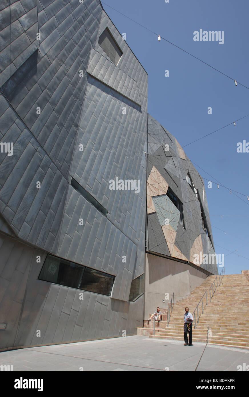 Moderno edificio en la Plaza de la Federación, en Melbourne, Australia. Imagen De Stock